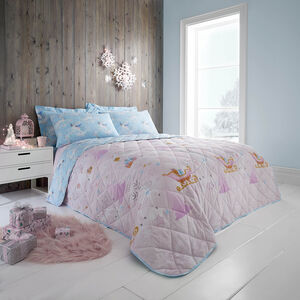 Whimsical Unicorn Bedspread 200 x 220cm - Duck Egg