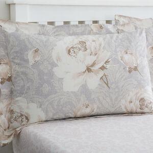Katie Oxford Pillowcase Pair - Natural/Grey