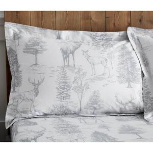 Stag Toile Oxford Pillowcase Pair - Grey