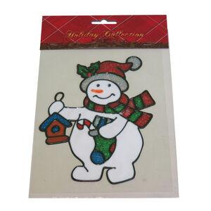 Merry Christmas Glitter Snowman Sticker