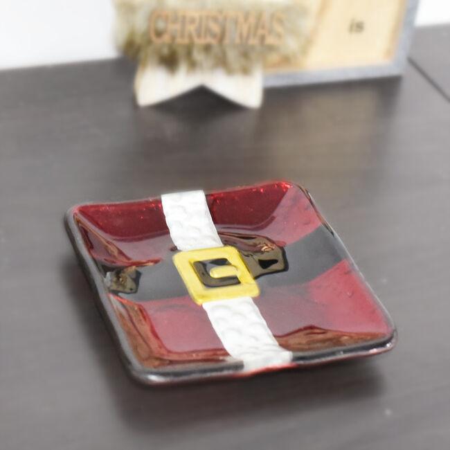 Santa Belt Glass Serving Plate