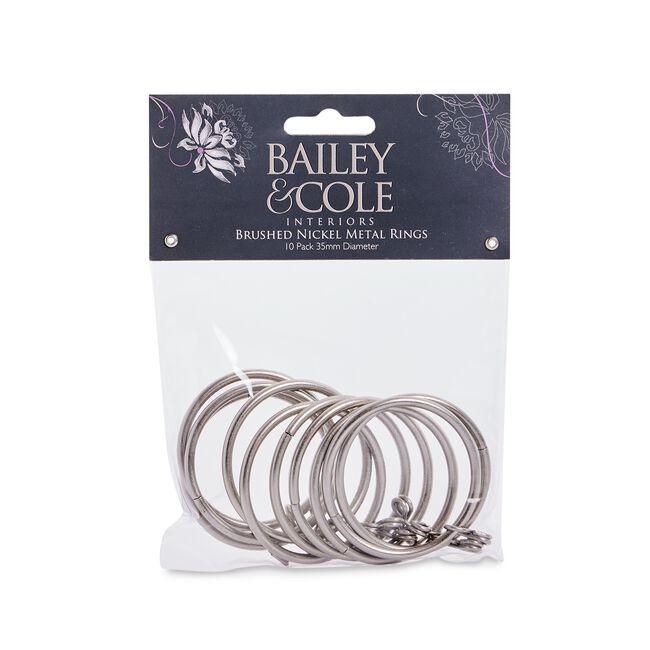 Metal Rings Brushed Nickel 50mm 10pk