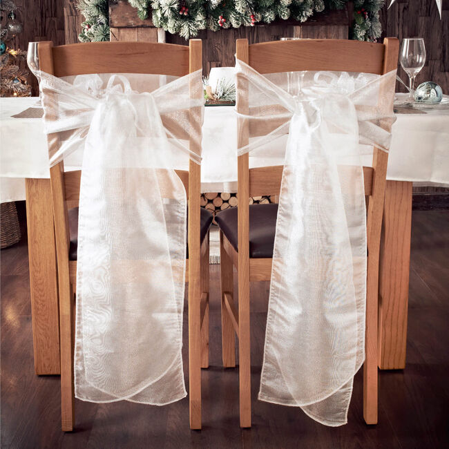 Silver Christmas Chair Bow - Pack Of 2