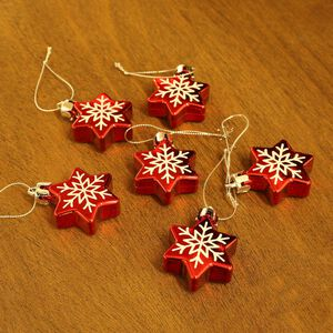 Christmas Star Tree Decoration - 6 Pack