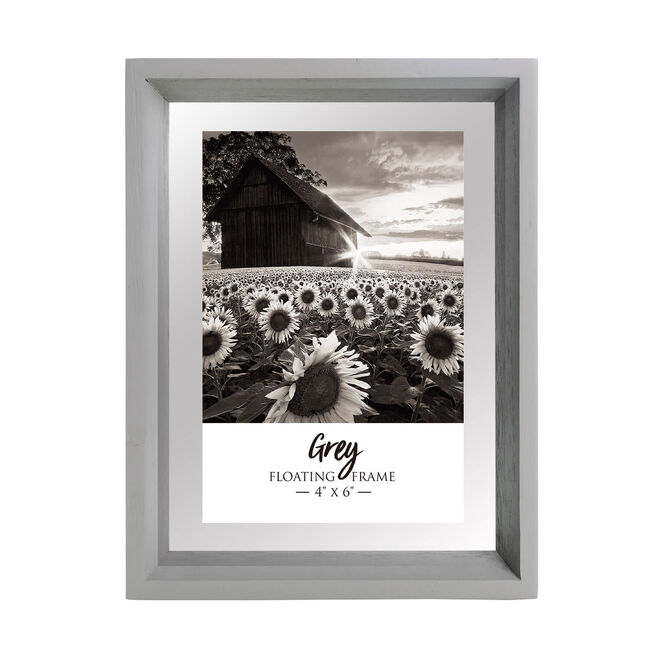 "Floating Matt Frame 4"" x 6"" - Grey"