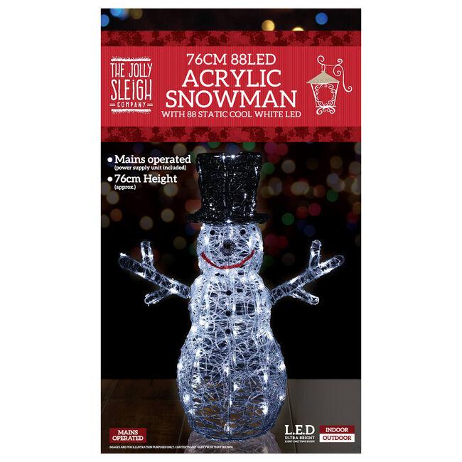88 LED Acrylic Snowman 76cm