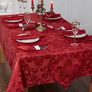 Textured Damask Red Table Cloth  178cm x 365cm