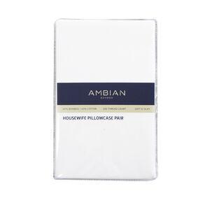 300TC Bamboo/Cotton Housewife Pillowcase Pair - White