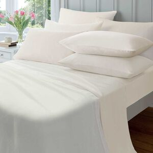 SINGLE FITTED SHEET  Flannelette Cream
