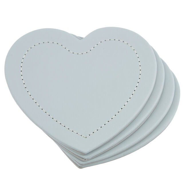 Reversible Heart Grey & Duck Egg Coasters