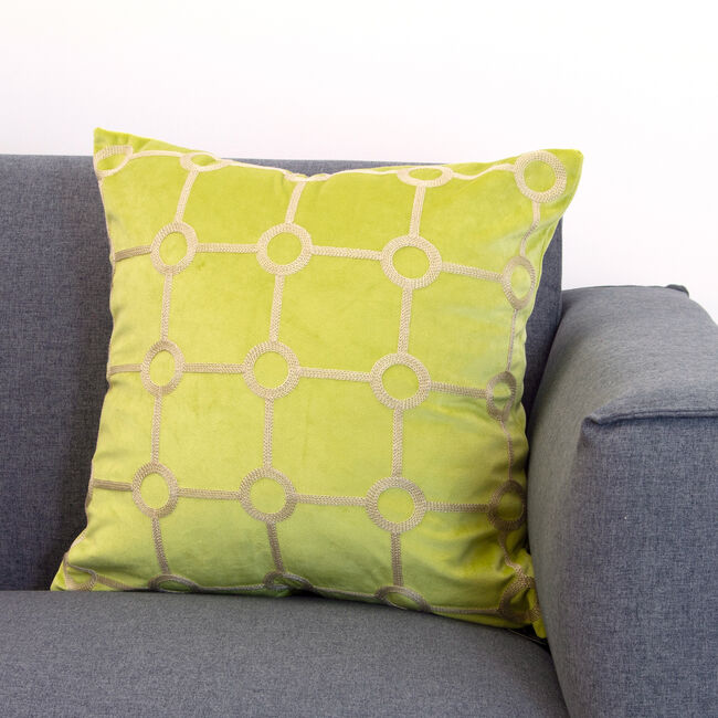 Embroidered Stitch Cushion 45x45cm -  Lime