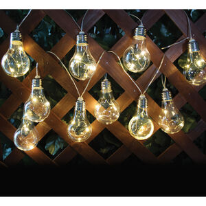 10 LED Solar Light Bulb String Lights