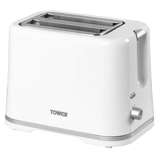 Tower White 2 Slice Toaster - White