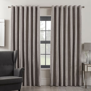 Blackout & Thermal Textured Curtains - Silver