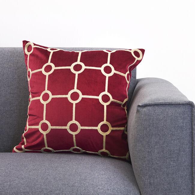Embroidered Stitch Cushion 45x45cm - Burgundy