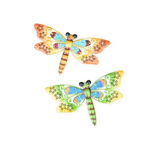 Set of two Stained Glass Dragonfly Garden Wall Art