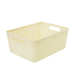 Hessian Cream Storage Basket 4L