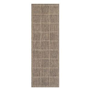 Checkered Flatweave Runner Grey 60cm x 230cm