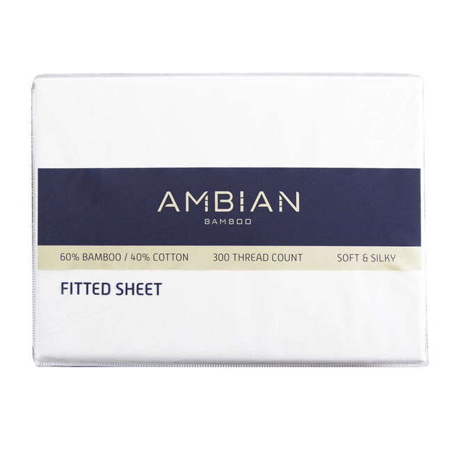 KING SIZE FITTED SHEET 300Tc Bamboo/Ctn White