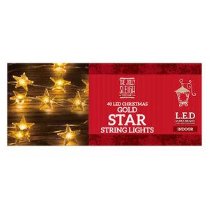 40 LED Christmas Gold Star String Lights