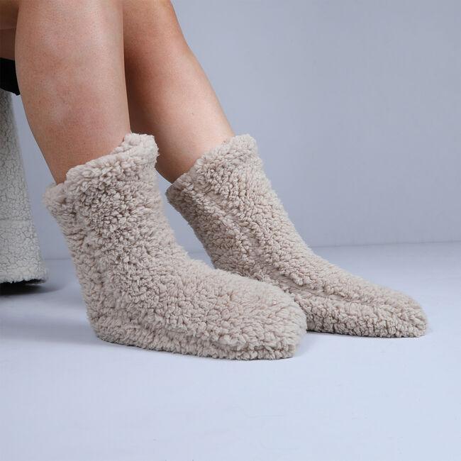 Teddy Socks Pair - Cream