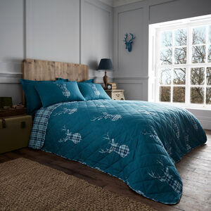 Brushed Cotton Stag Check Teal 200c220cm