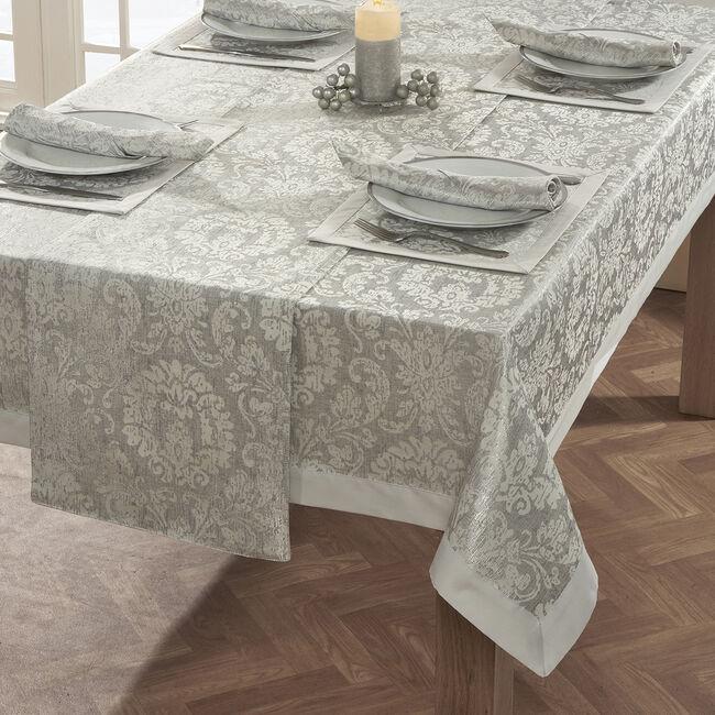 DAMASK MEDALLION SILVER 160x183cm Table Cloth