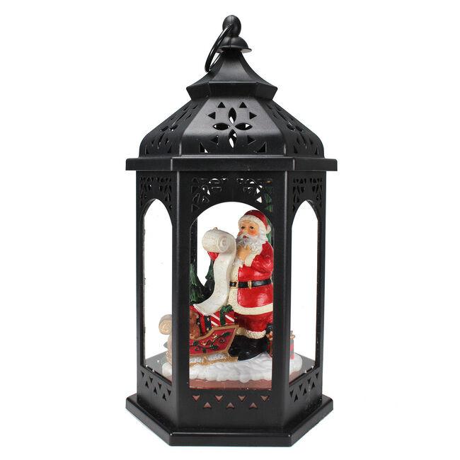 Vintage Light Up Lantern with Santa