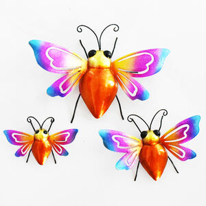Colourful Bees Garden Wall Art - Set of 3