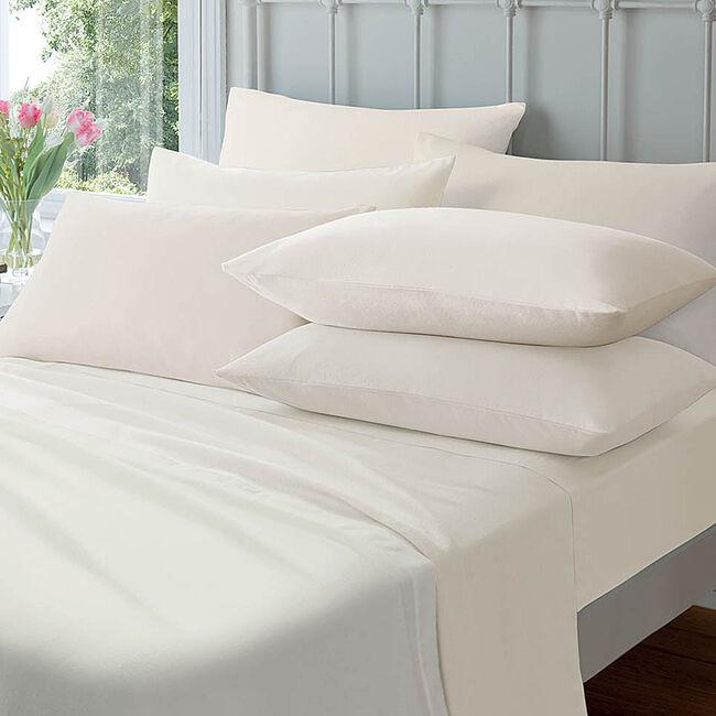 Flannelette Housewife Pillowcase Pair - Cream