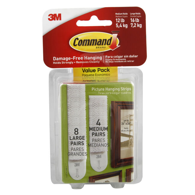 Command 12Pk Medium & Large Picture Hanging Strips
