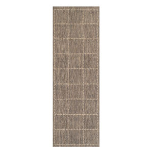 Checkered Flatweave Runner Grey 60cm x 230cm