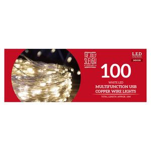 100 Bright White LED USB Copper Wire Lights