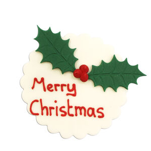 Holly Merry Christmas Icing Cake Topper