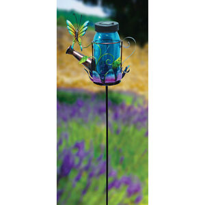 Decorative Glass Solar Watering Can Garden Stake