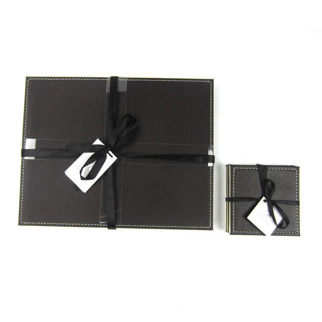 Reversible Leather Plain Placemats - Choc & Cream