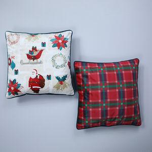 Vintage Santa Cushion Cover 2 Pack 45x45cm