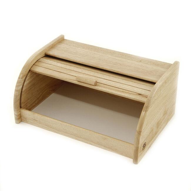 Rubberwood Bread Bin Roll Top
