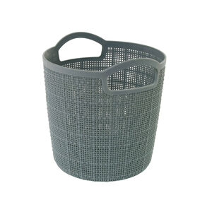 Hessian Blue Round Storage Basket 2.5L