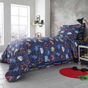 Eat Sleep Game Bedspread 200 x 220cm - Navy