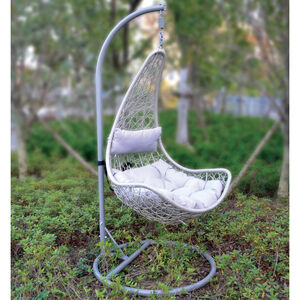Grey Crescent Rattan Hanging Chair