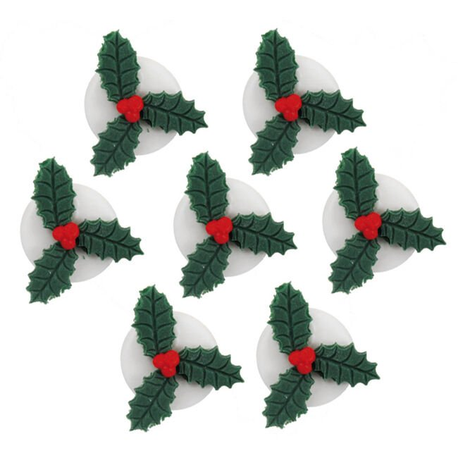 Handmade Holly Icing Cake Toppers 7Pk