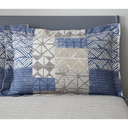 Monika Oxford Pillowcase Pair - Natural/Blue