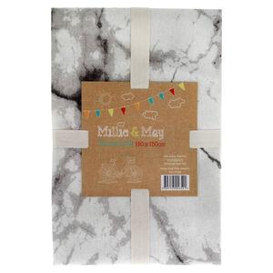Marble Black/White Tablecloth 140cm x 180cm