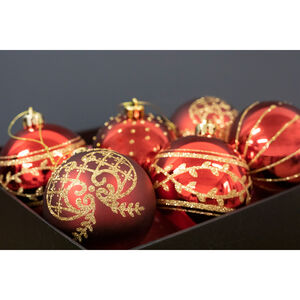 Red Christmas Baubles - 6 Pack