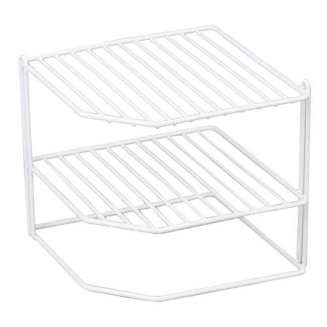 Square 3 Tier Corner Shelf White