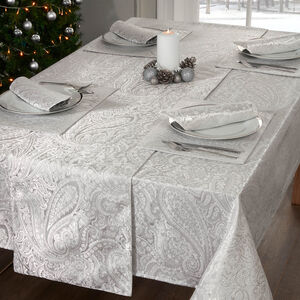 PAISLEY DAMASK SILVER 160x183cm Table Cloth