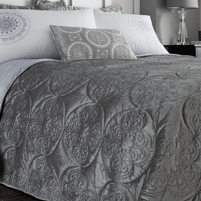 Mandala Silver Bedspread