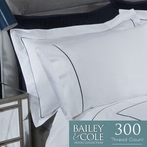 Cable 300TC Oxford Pillowcase Pair - Navy