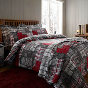 SINGLE DUVET COVER Brushed Cotton Patchwork Stag